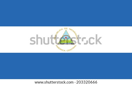 Flag of Nicaragua. Vector. Accurate dimensions, element proportions and colors. - stock vector