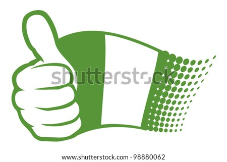 flag of nigeria. hand showing thumbs up. - stock vector