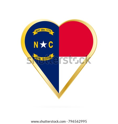 Flag North Carolina Shape Heart Symbol Stock Vector 796562995