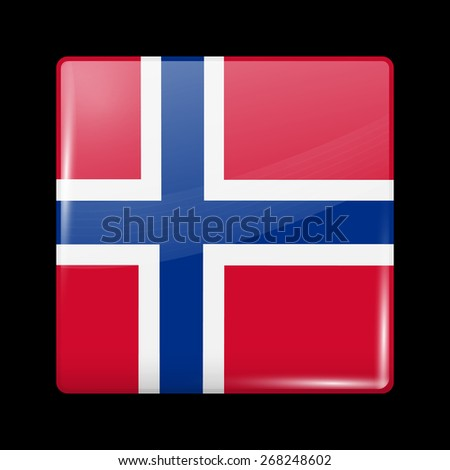Flag of Norway. Glossy Icons Square Shape. This is File from the Collection European Flags - stock vector