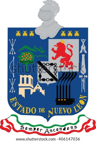 Flag of Nuevo Leon states, federal district of Mexico. Vector illustration.