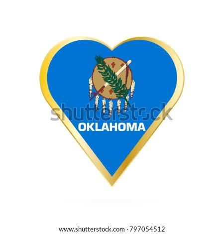 Flag Oklahoma Shape Heart Symbol Love Stock Vector 797054512