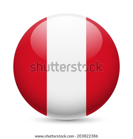 Flag of Peru as round glossy icon. Button with Peruvian flag - stock vector
