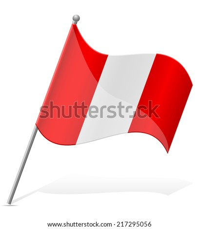 flag of Peru vector illustration isolated on white background - stock vector