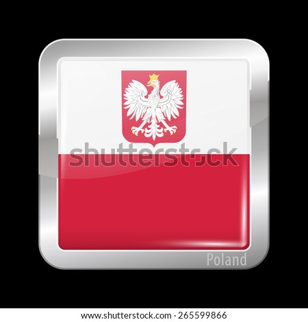 Flag of Poland. Metal Icons Square Shape. This is File from the Collection European Flags - stock vector