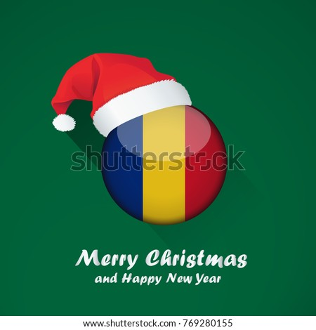 Merry christmas in romanian christmas cards flag of romania merry christmas and happy new year background design with glossy round flag m4hsunfo