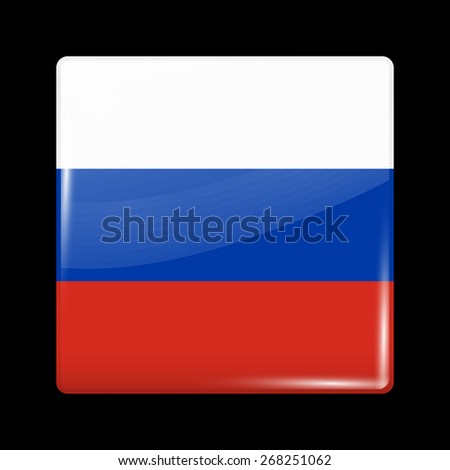 Flag of Russia. Glossy Icons Square Shape. This is File from the Collection European Flags - stock vector