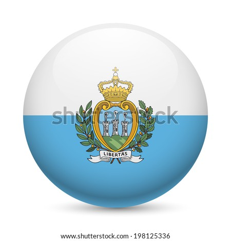 Flag of San Marino as round glossy icon. Button with flag colors - stock vector