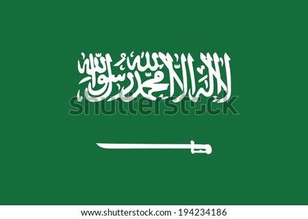 Flag of Saudi Arabia. Vector. Accurate dimensions, elements proportions and colors. - stock vector