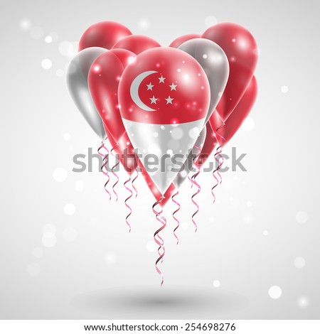 Flag of Singapore on air balls in heart-shaped. Celebration and gifts. Ribbon in the colors of the flag are twisted under the balloon. Independence Day. Balloons on the feast of the national day - stock vector