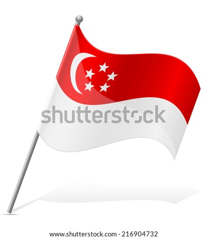 flag of Singapore vector illustration isolated on white background - stock vector