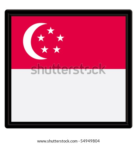 Flag of Singapore with black frame - stock vector