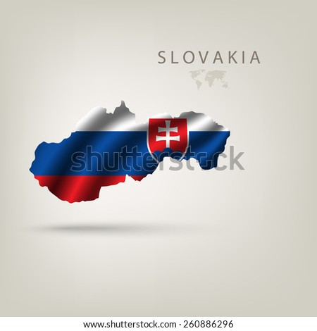 Flag of SLOVAKIA as a country with a shadow - stock vector