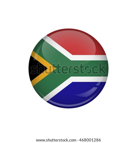 Flag of South Africa. A round button with a glare. Round Flag emblem.