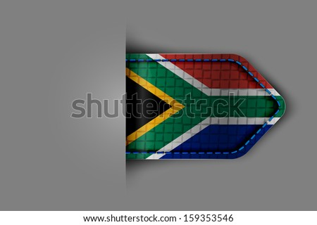 Flag of South Africa in the form of a glossy textured label or bookmark. Vector illustration.