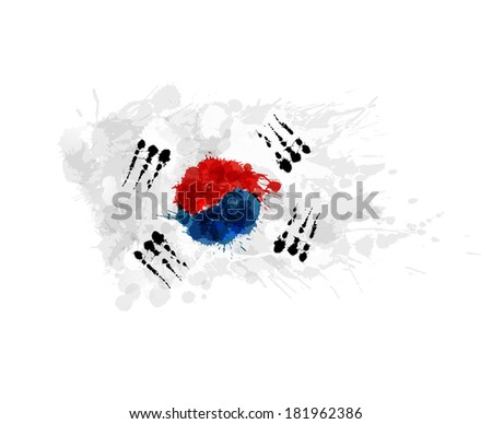 Flag of South Korea ( Republic of Korea ) made of colorful splashes - stock vector