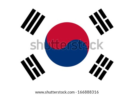 Flag of South Korea. Vector. Accurate dimensions, element proportions and colors. - stock vector