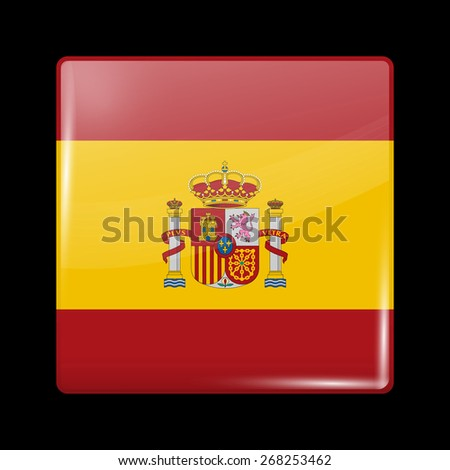 Flag of Spain. Glossy Icons Square Shape. This is File from the Collection European Flags - stock vector
