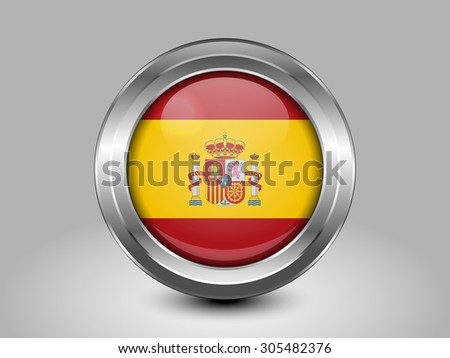 Flag of Spain. Metal Round Icons. This is File from the Collection European Flags - stock vector