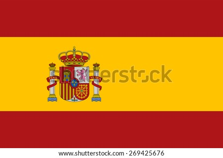 Flag of Spain. Official state Spanish symbol. Right forms and sizes. Two red and yellow stripe. In the left side shows the coat of arms of Spain. For political subjects and official designations. - stock vector