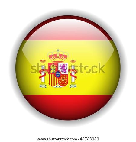 Flag of Spain, Spanish flag, glossy button, vector - stock vector