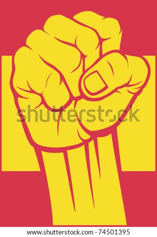 flag of spain with fist
