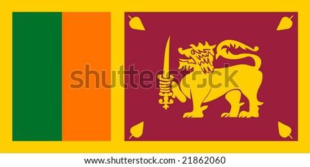 Flag of Sri Lanka. Illustration over white background - stock vector