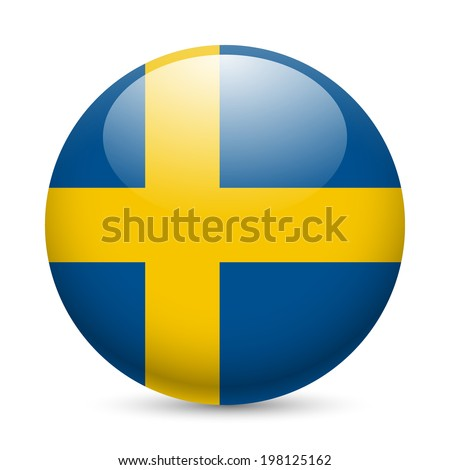 Flag of Sweden as round glossy icon. Button with Swedish flag - stock vector