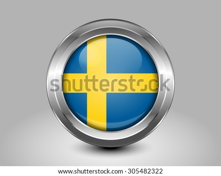 Flag of Sweden. Metal Round Icons. This is File from the Collection European Flags - stock vector