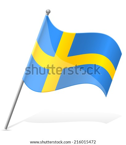 flag of Sweden vector illustration isolated on white background - stock vector