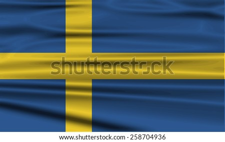 Flag of Sweden with old texture. Vector illustration - stock vector