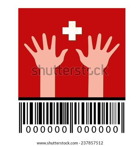 Flag of Switzerland, hands and barcode. Vector - stock vector
