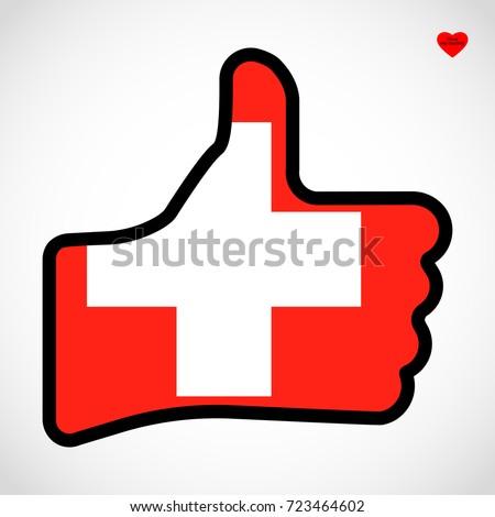 Flag Switzerland Shape Hand Thumb Up Stock Vector 723464602