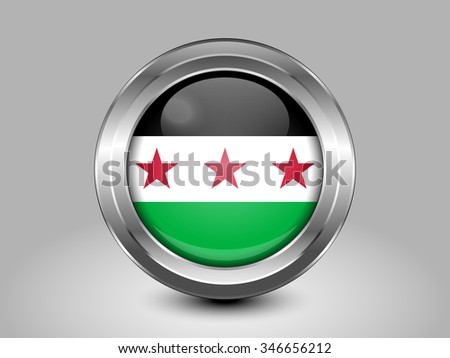 Flag of Syria. Metal Round Icons. This is File from the Collection Asian Flags - stock vector