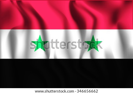 Flag of Syria. Rectangular Shape Icon with Wavy Effect - stock vector