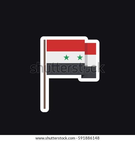 Flag of syria sticker vector illustration