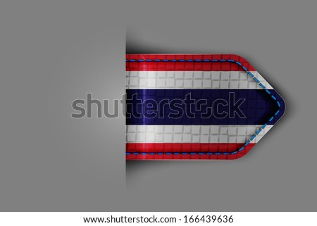Flag of Thailand in the form of a glossy textured label or bookmark. Vector illustration.