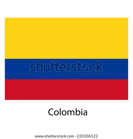 Flag  of the country  colombia. Vector illustration.  Exact colors.  - stock vector