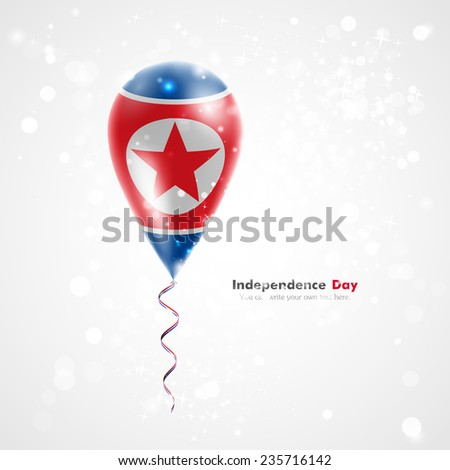 Flag of the country on balloon. Celebration and gifts. Ribbon in colors of flag are twisted under balloon. Independence Day. Balloons on feast of national day. Flag of the Democratic People's Republic - stock vector