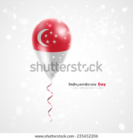 Flag of the country on balloon. Celebration and gifts. Ribbon in the colors of the flag are twisted under the balloon. Independence Day. Balloons on the feast of the national day. Flag of Singapore - stock vector