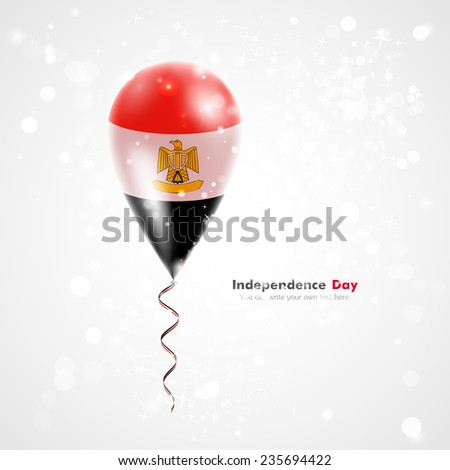 Flag of the country on balloon. Celebration and gifts. Ribbon in the colors of the flag are twisted under the balloon. Independence Day. Balloons on the feast of the national day. Flag of Egypt - stock vector