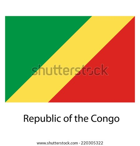 Flag  of the country  republic congo. Vector illustration.  Exact colors.  - stock vector