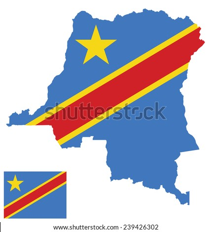 Flag of the Democratic Republic of the Congo overlaid on detailed outline map isolated on white background  - stock vector