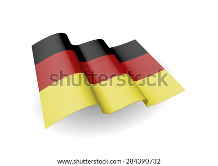 Flag of the Germany, waving on the wind on white background. (Vector image) - stock vector