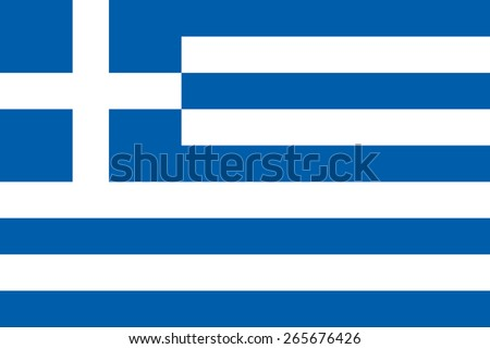 Flag of the Hellenic Republic. Official state symbol of Greece. Correct colors and proportions. Nine blue and white stripes and a white cross. Vector image on the greek political theme. - stock vector