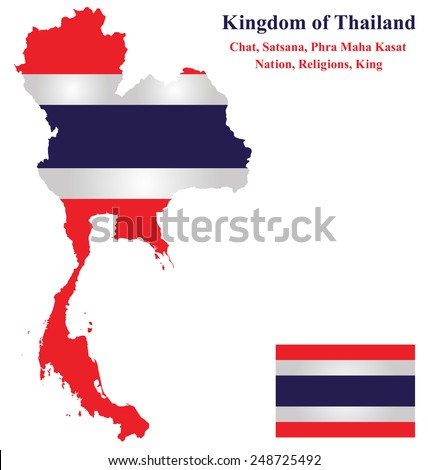 Flag of the Kingdom of Thailand overlaid on detailed outline map isolated on white background  - stock vector