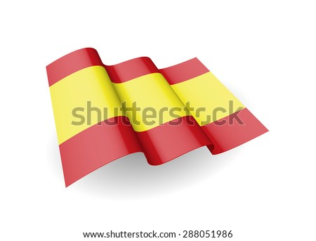 Flag of the Spain, waving on the wind on white background. (Vector image) - stock vector