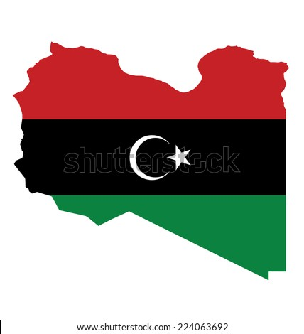 Flag of the State of Libya overlaid on outline map isolated on white background  - stock vector