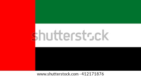 Flag of the United Arab Emirates in correct proportions and colors - stock vector