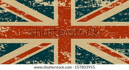 Flag of the United Kingdom. UK grunge flag on old carboard texture. Vector eps10
